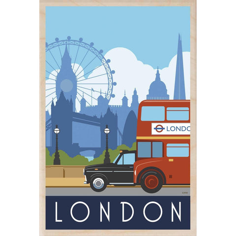 London Bus & Taxi Wooden Postcard