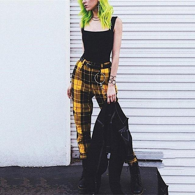 High Waist Plaid Pants - Bend It Like BaiYu