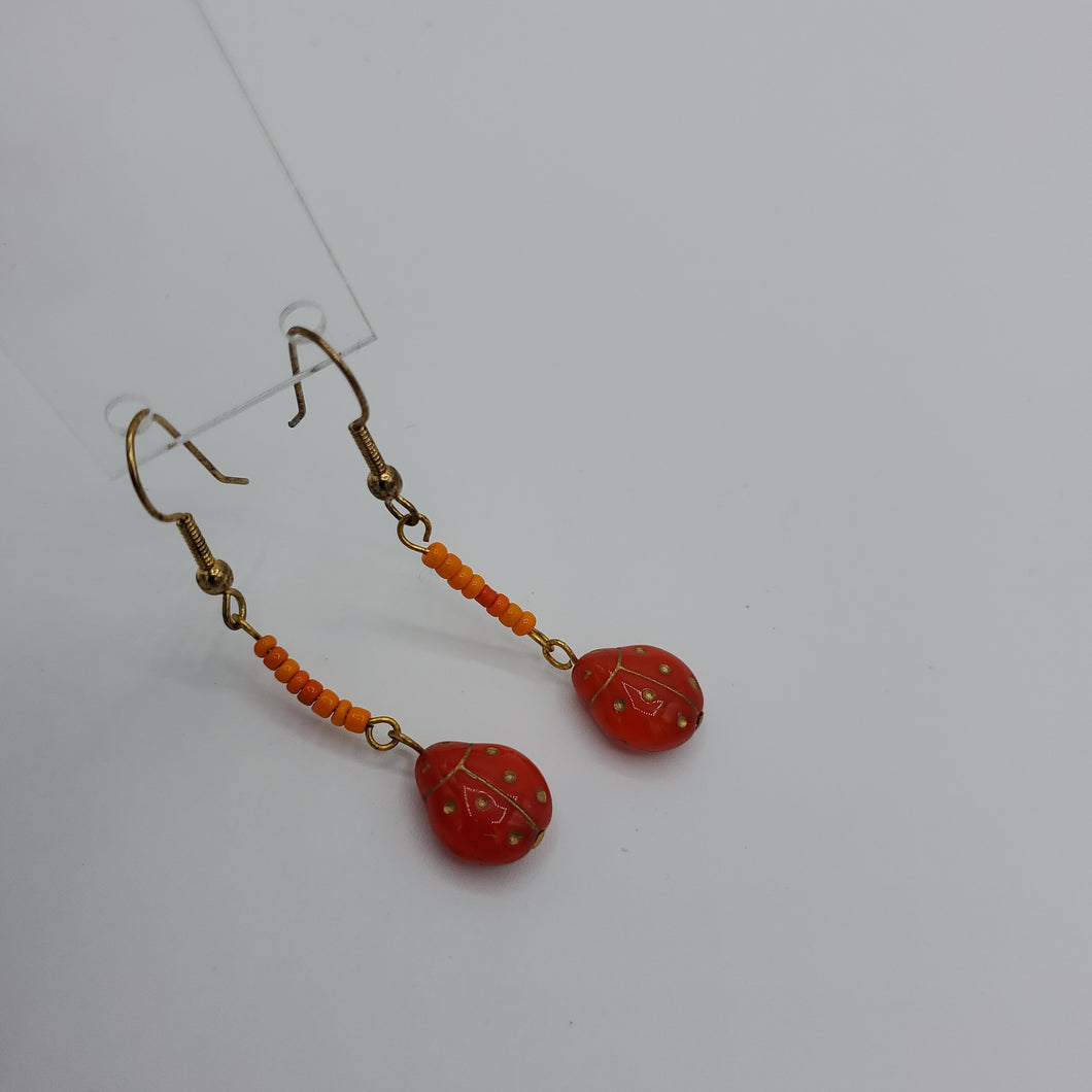 Lady Bugs Glass Bead Earrings