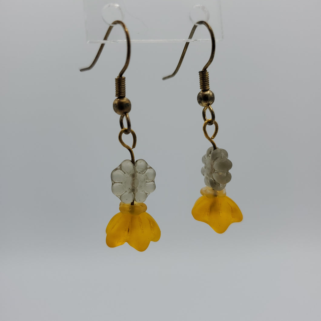 Yellow and White Floral Earrings