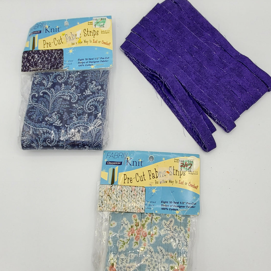Crazy About Florals and Blues Fabric Yarn Strips bundle