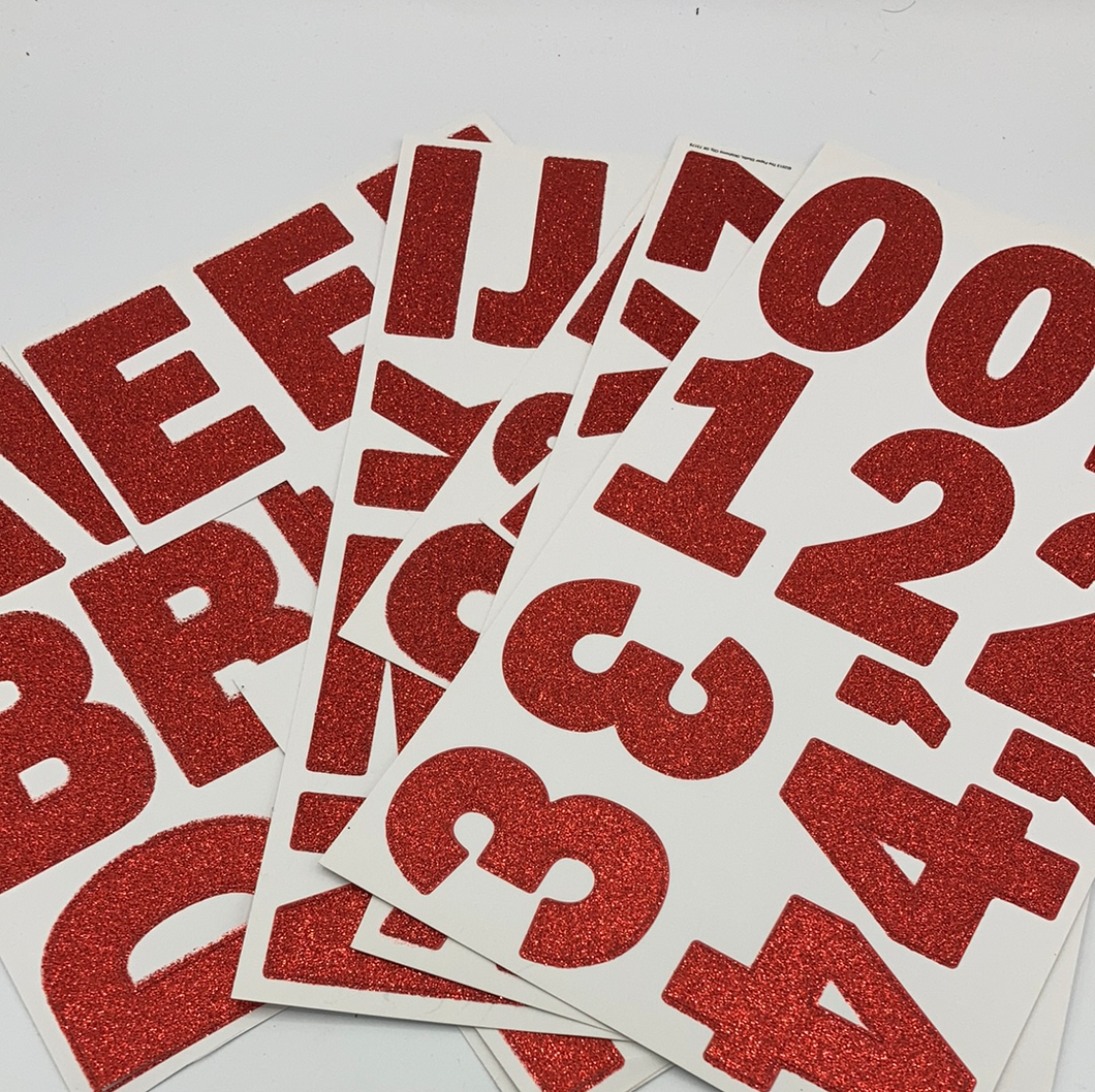 Red Glitter Letter Stickers