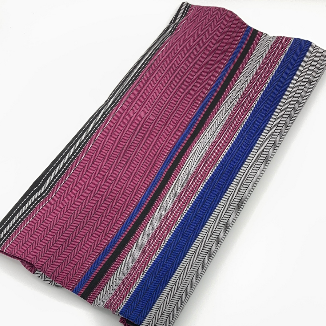 Maroon, Blue, Black Stripe Fabric