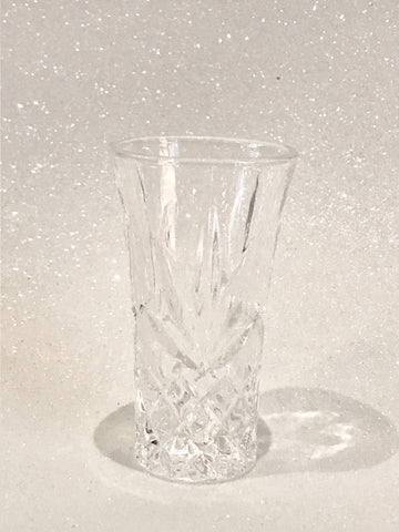 Tall Etched Crystal Shot Glass