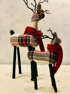 Plaid Reindeer Decorations (Red & Green)