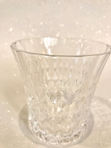 Wide Mouth Etched Crystal Glass