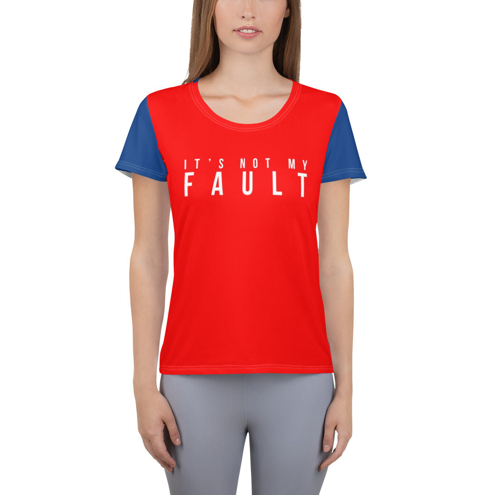 All-Over Print Women's Athletic T-shirt It's Not My Fault Red White