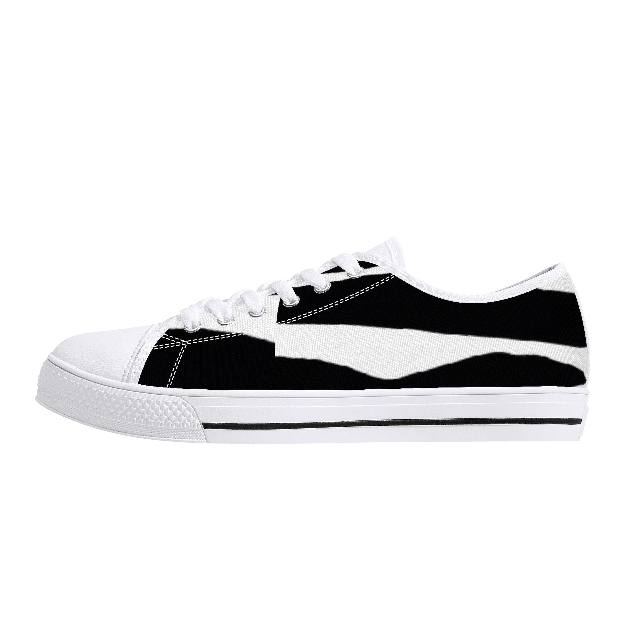 D24 Rubber Outsoles Low-Top Canvas Shoes  Black and White HAPPIER FEELINGS