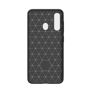 Husa silicon Samsung Galaxy A60 , Negru model Carbon + Folie sticla securizata  Samsung Galaxy A60 , Antisoc, TPU, Viceversa
