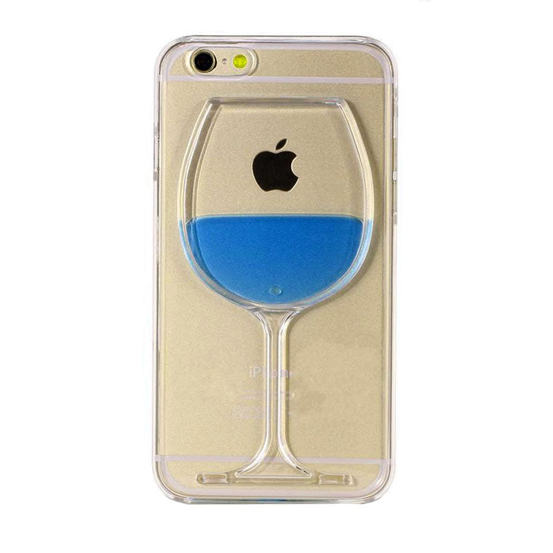 Carcasa Husa Apple iPhone 8 cu lichid  model Pahar Wine Glass , Albastru , Blue