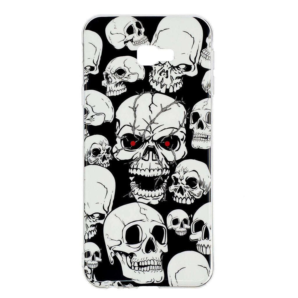 Carcasa Husa Samsung Galaxy J4 Plus Model Skulls, Fosforescent,  Antisoc + Folie sticla securizata Samsung Galaxy J4 Plus Tempered Glass  Viceversa