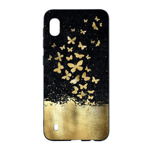 Carcasa Husa Samsung Galaxy A10 model Gold Butterflies , Antisoc + Folie sticla securizata Samsung Galaxy A10  Tempered Glass  Viceversa