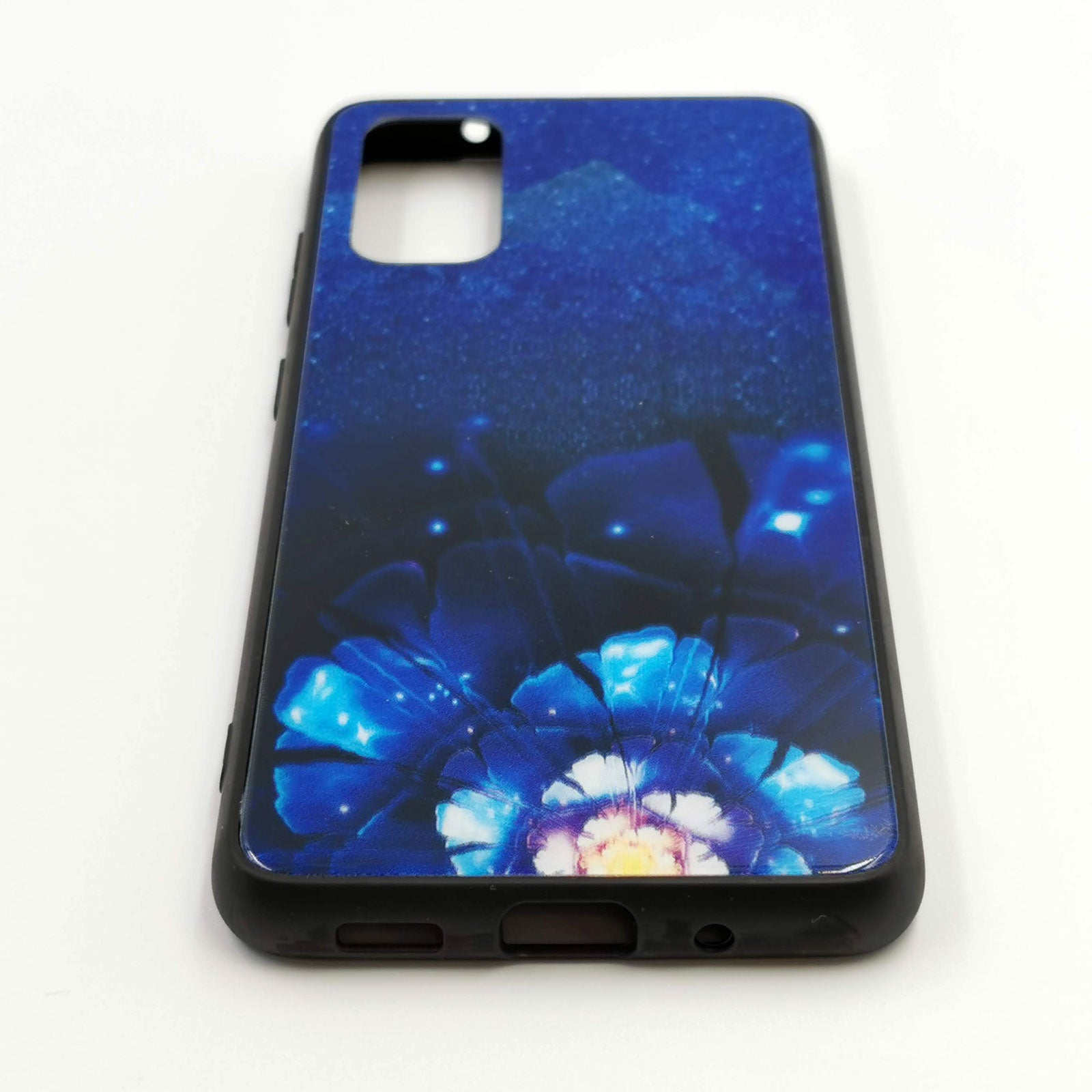 Husa Samsung Galaxy S20 model Glass Blue Flowers, Antisoc, TPU Hybrid, Viceversa Multicolor