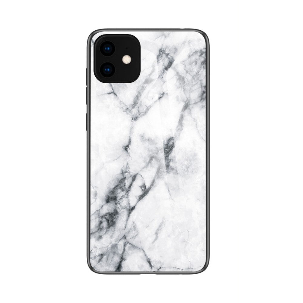 Husa silicon Apple iPhone 11 model Marble Glass Alb, Antisoc, Viceversa