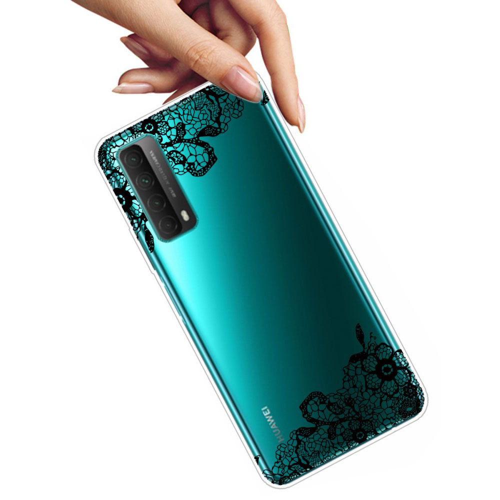 Husa silicon Huawei P Smart 2021 model Flower Laces, Silicon, TPU Viceversa Transparent/Negru
