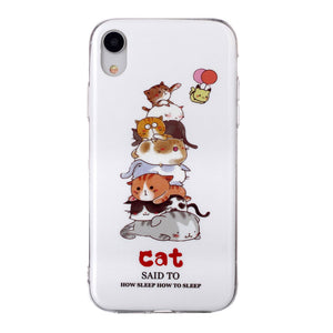 Husa silicon Apple iPhone XR Fosforescent model Cat Pile, Silicon, TPU Viceversa Multicolor