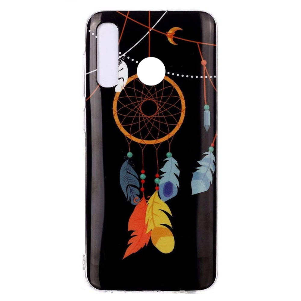Husa silicon Huawei Y6P Fosforescent model Feather Dreamcatcher, Silicon, TPU Viceversa Albastru
