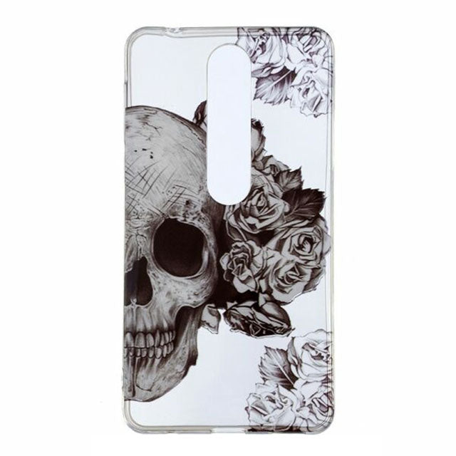 Husa silicon Nokia 6.1 2018 Model Skull Flowers, Antisoc, TPU, Viceversa Multicolor