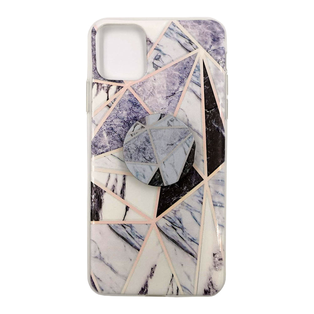 Husa silicon Apple iPhone 11 Pro Max model Pop Marble Triangle Suport Grip, Antisoc, TPU Viceversa