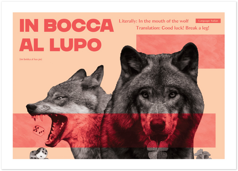 Italian Idiom Poster - In the mouth of the wolf