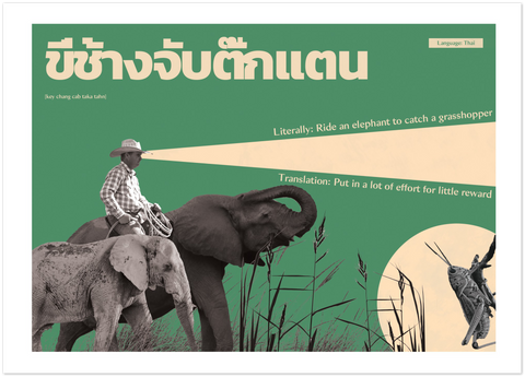 Thai Idiom Poster - Ride an elephant to catch a grasshopper