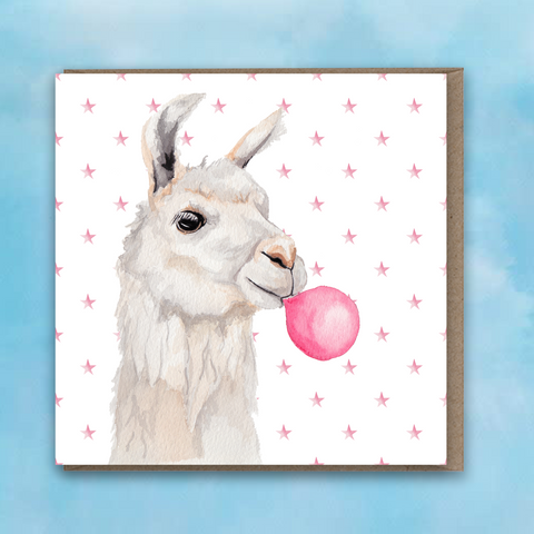 Greeting card featuring a painted llama with pink bubblegum bubble and pink star background