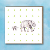 Greeting card with pink heart background, Elephant and Baby Elephant in centre