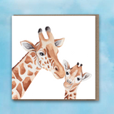 Greeting card with pink heart background, Giraffe and Baby Giragge in centre