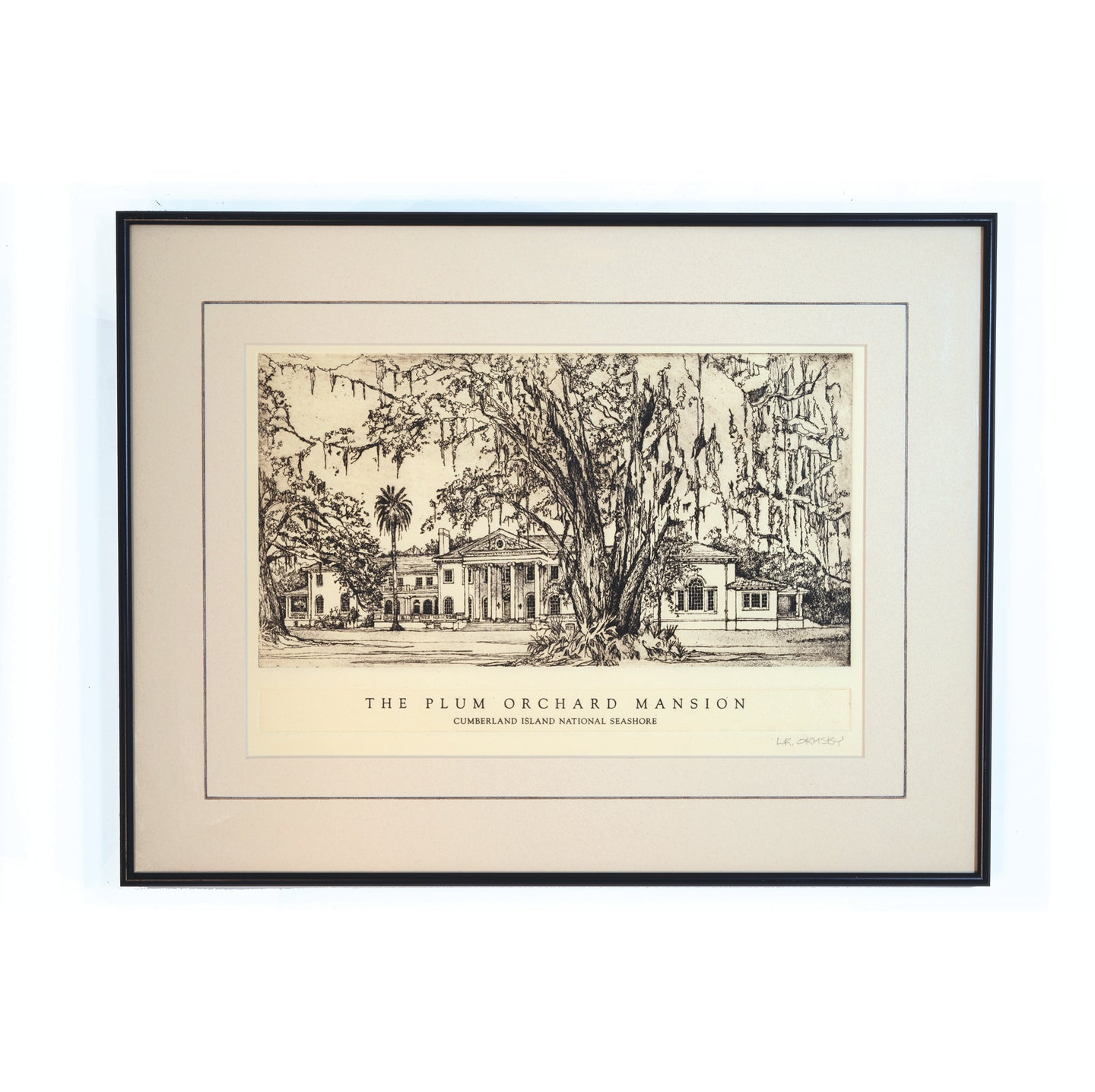 Plum Orchard Mansion etching