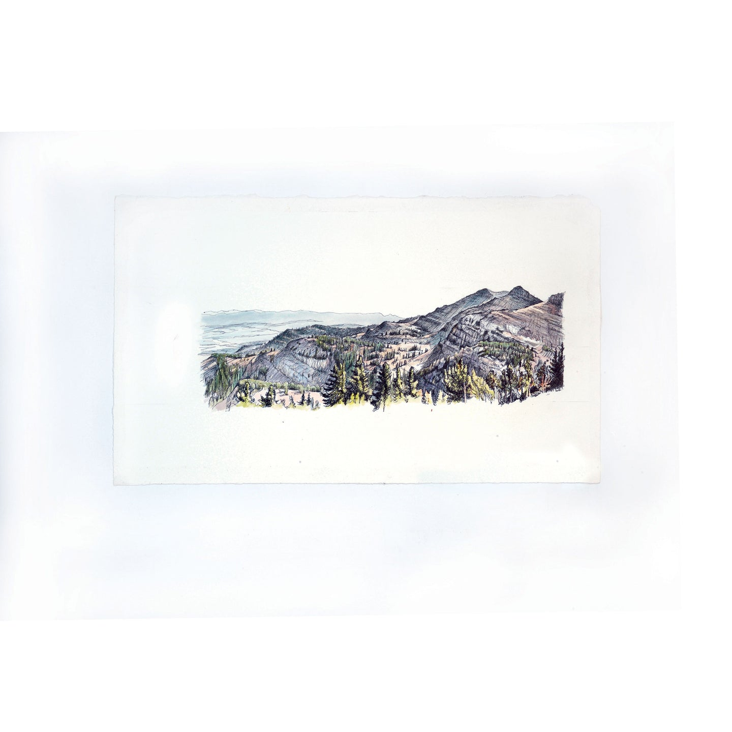 Rendevous Mountain wide view watercolor