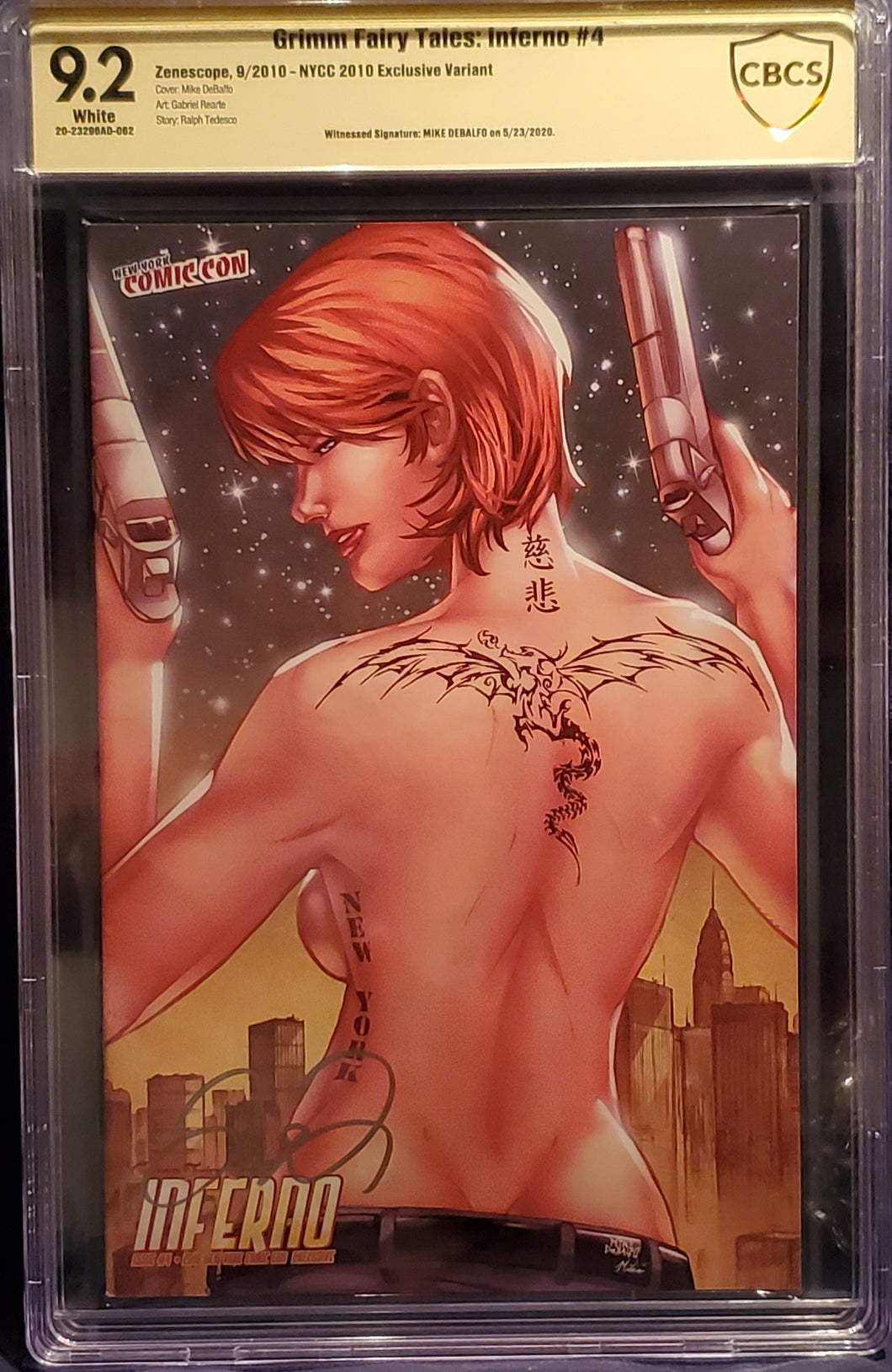 HOT!! GRIMM FAIRY TALES: INFERNO #4 LIMITED TO 500 NYCC 2010 EXCLUSIVE  SIGNED BY MIKE DEBALFO 9.2 CBCS