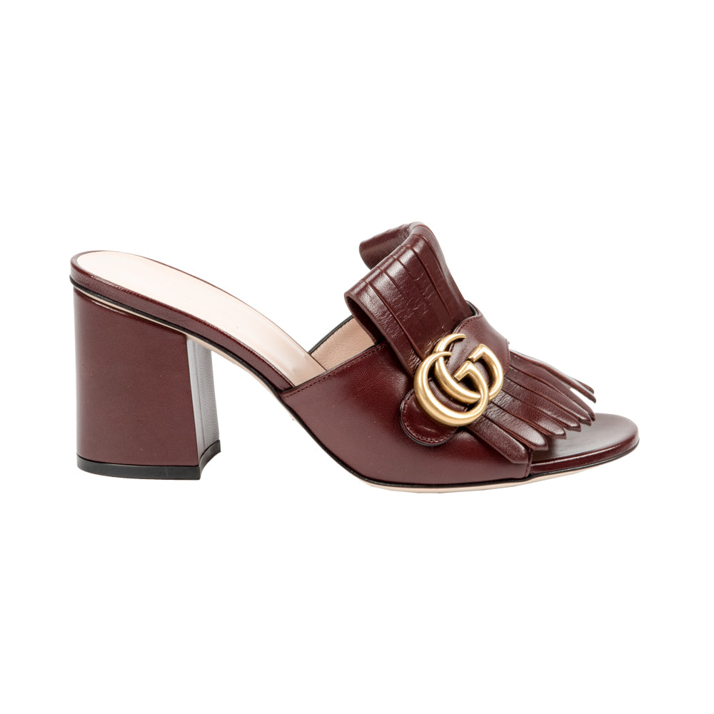 Leather Mid-Heel Sandal Slide Double G Brown