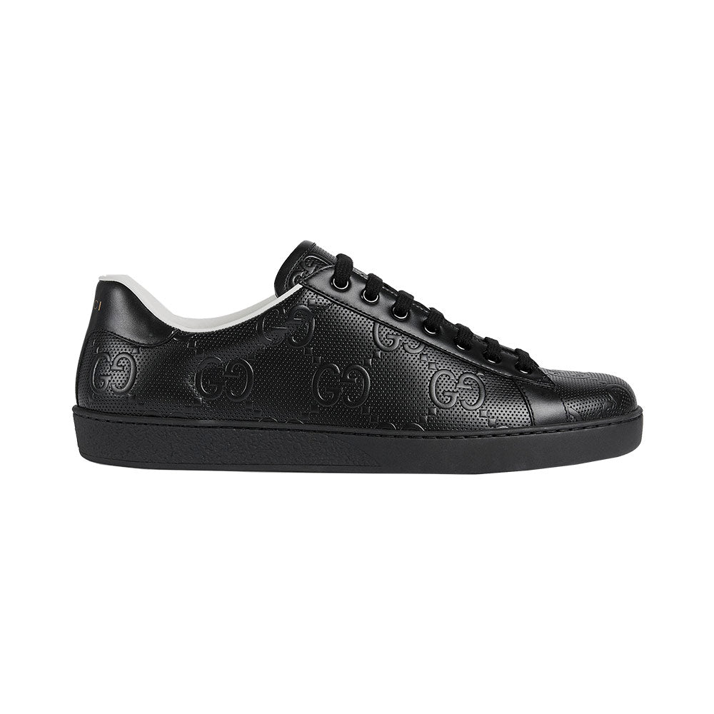 Men's Ace GG Embossed Sneakers - Black