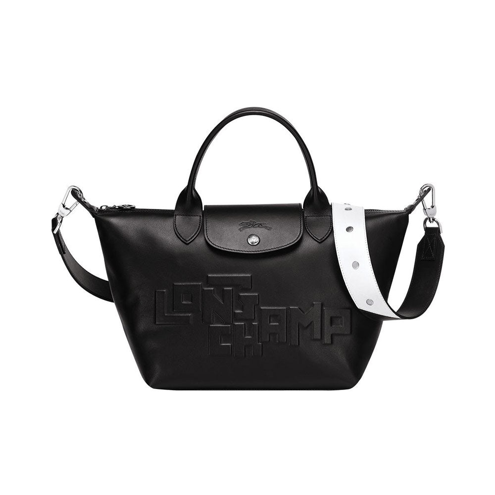 Le Pliage Cuir Top Handle Small Black Logo Embossed