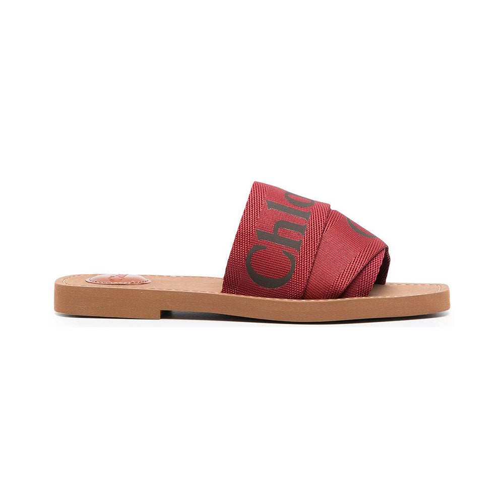 Sandals Woody Logo Canvas - Reddish Brown