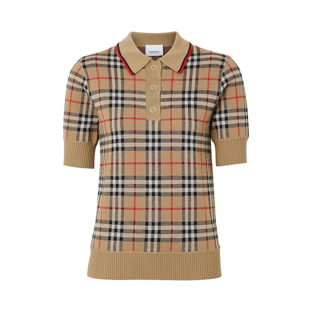 Wool Polo Vintage Check Wom Beige