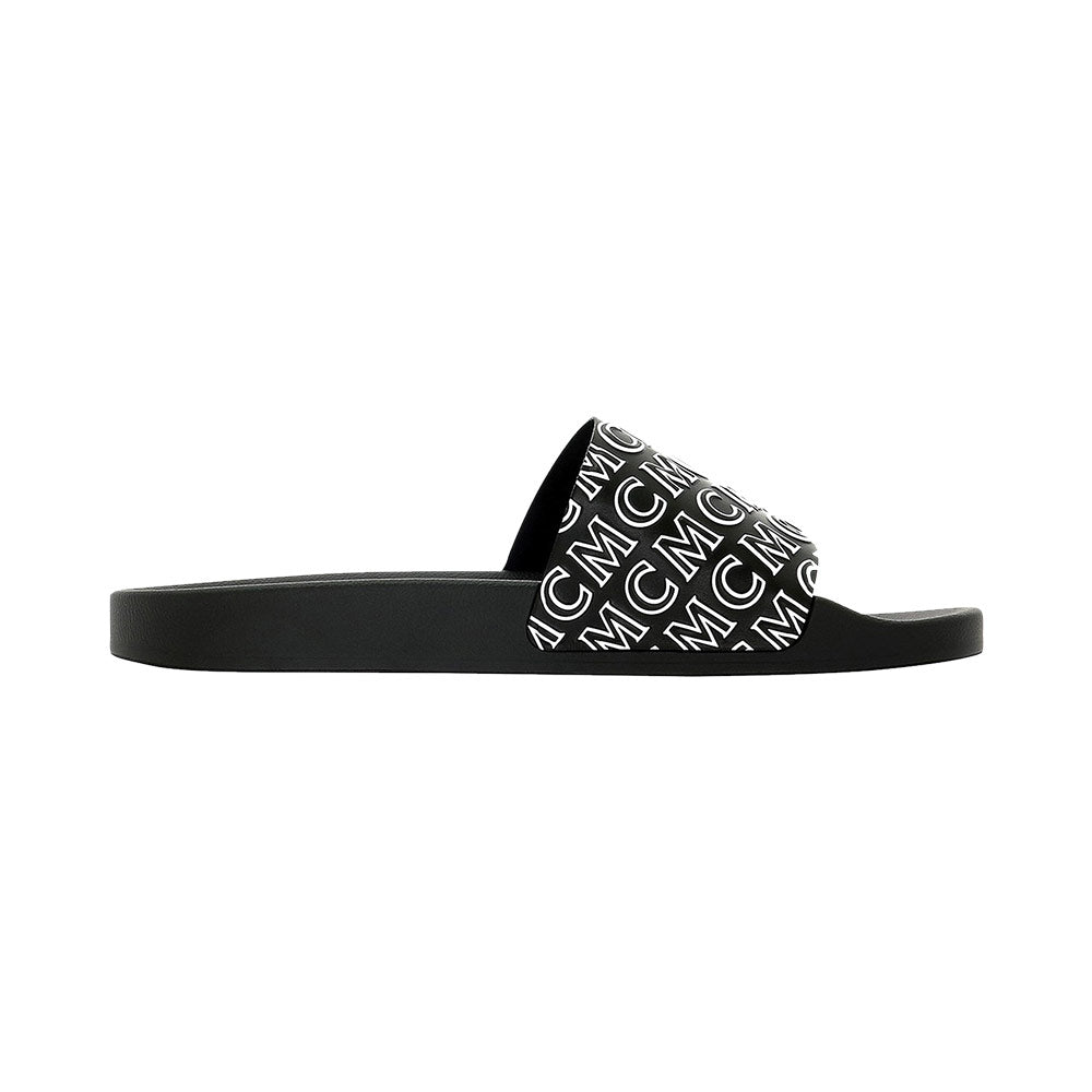 Sandal Slide Man Logo Monogram Black Embossed