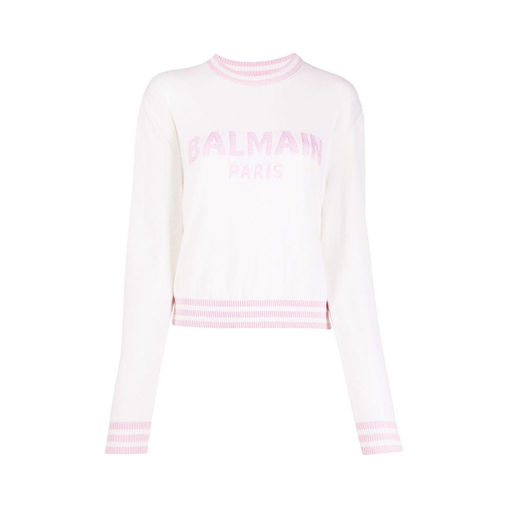 Cropped Crewneck Long-Sleeved Sweatshirt - White Logo Pink