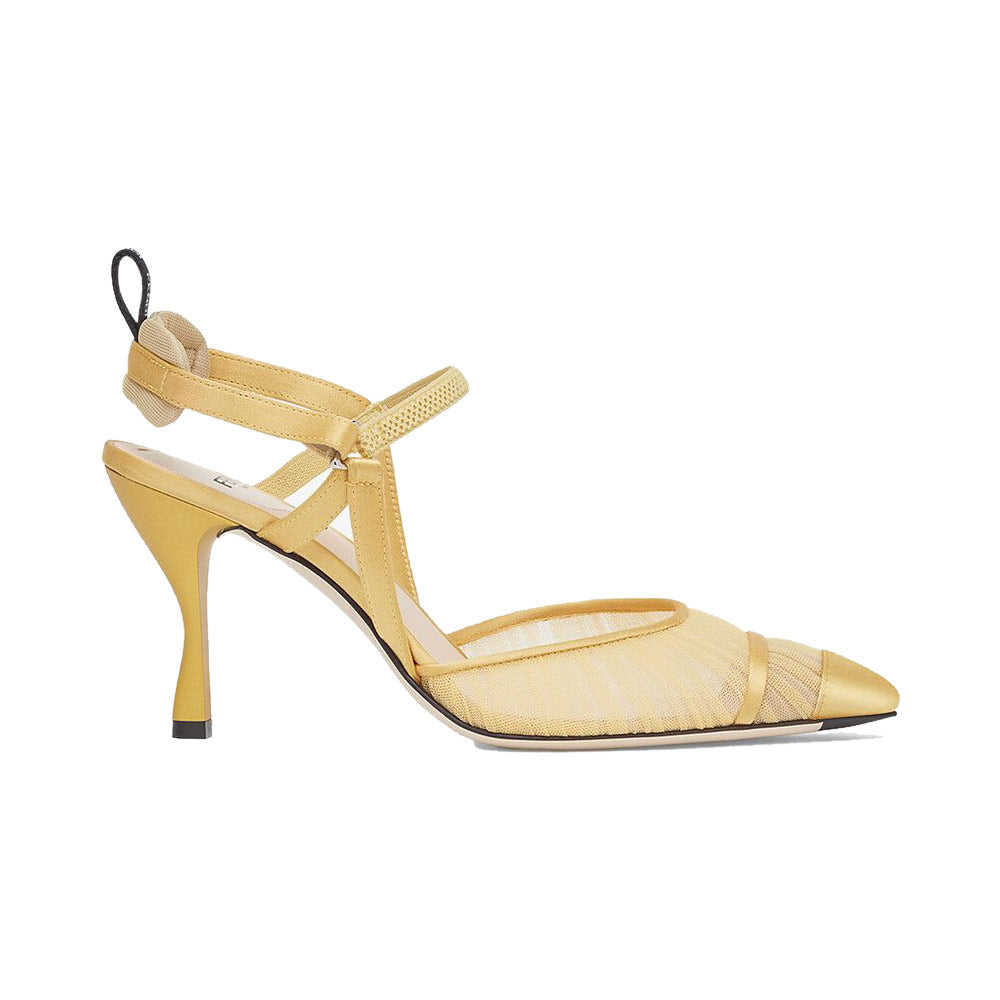Colibri Slingback Pumps Yellow Tulle Satin