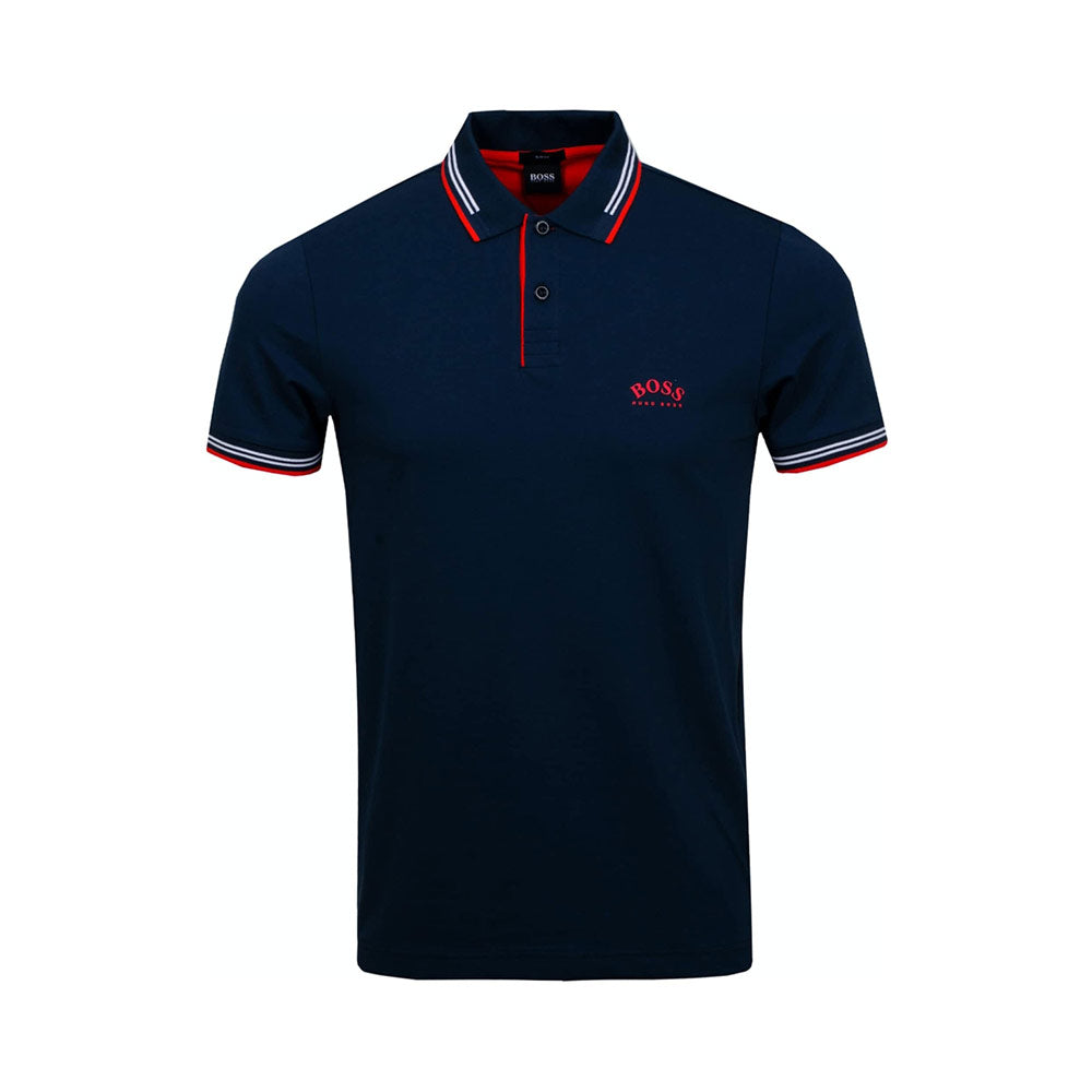 Polo Paul Curved Navy Blue Logo Red