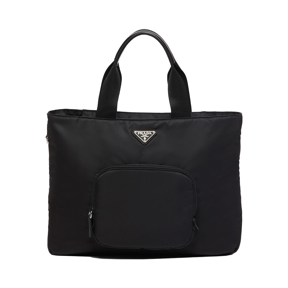 Nylon Tote Bag Black with a front zipper pocket