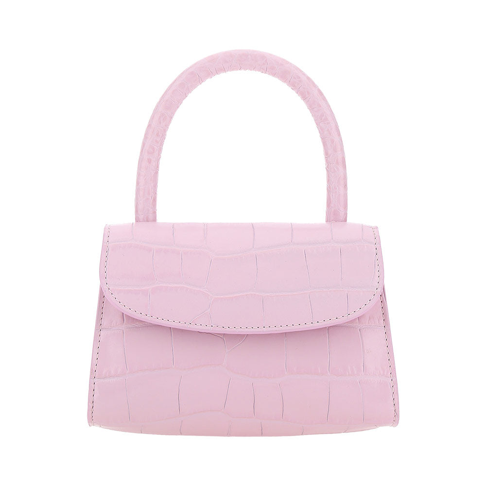 Mini Croco Top Handle Crossbody Bag - Pink