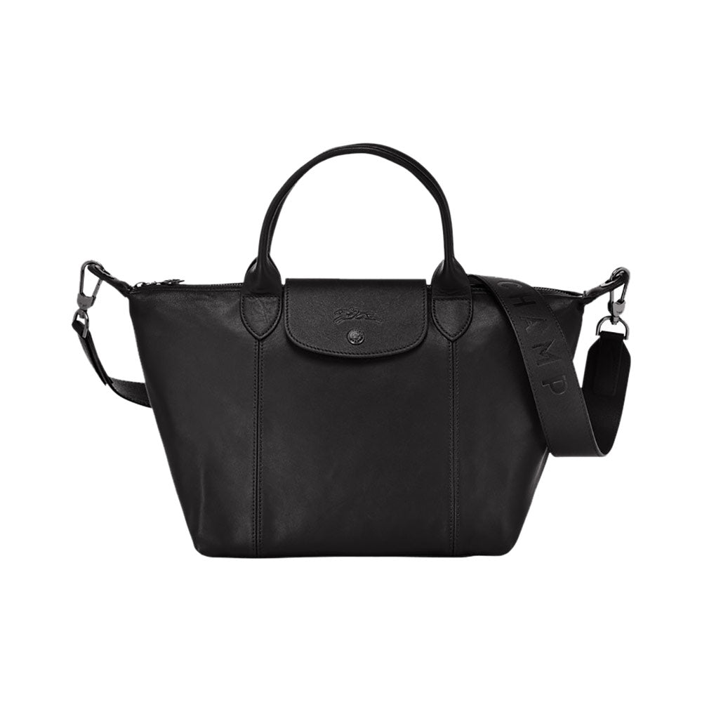 Le Pliage Cuir Top Handle Small Black
