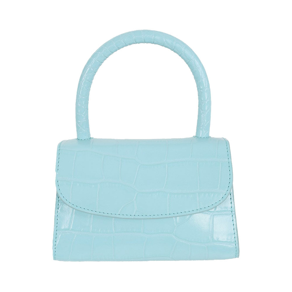 Mini Croco Top Handle Crossbody Bag - Aqua Blue