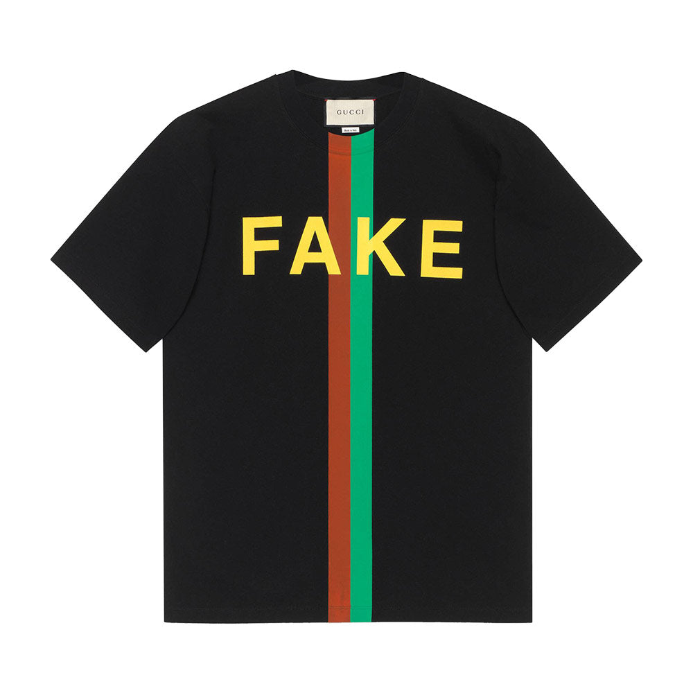 T-Shirt Fake/Not Print - Black Man