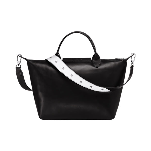 Le Pliage Cuir Medium Top Handle Logo Embossed Black