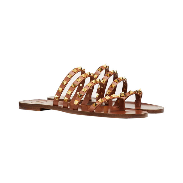 Rockstud Flair Slip On Sandal Brown