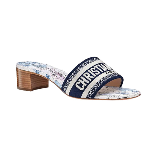 Dway Heeled Slide In Embroidered Cotton Navy