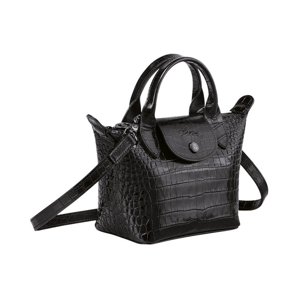 Le Pliage Cuir Mini Croco Top Handle All Black