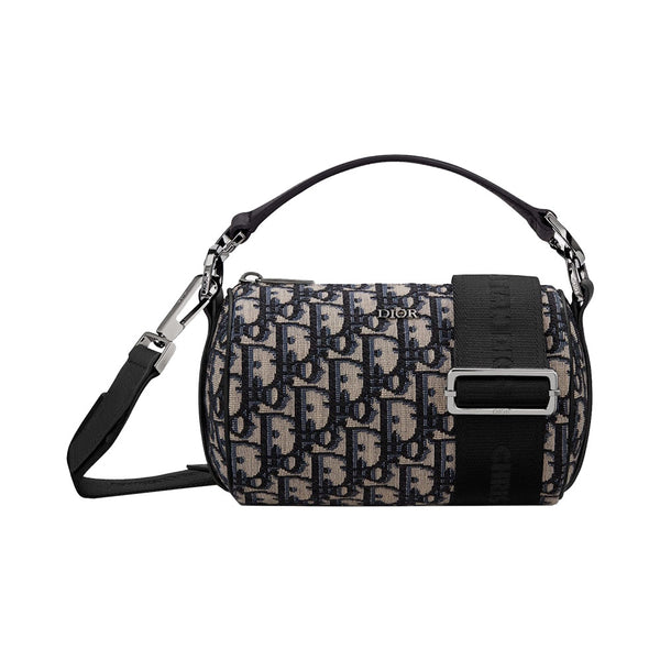 Oblique Jacquard Mini Roller Messenger Bag Beige Black